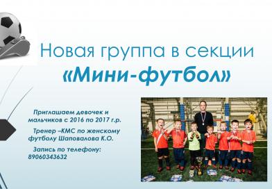 """Новая группа в секции """"Мини-футбол"""""""